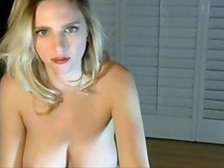 Bouncy blonde with striped bra strips